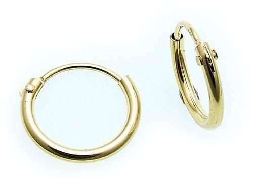 Ohrringe Creolen Gold 333 Glanz 11 mm Rohrform Gelbgold Qualität Unisex