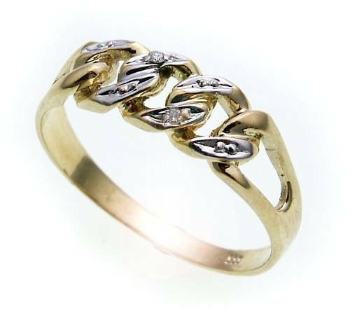 Damen Ring Brillant 0,01 carat echt Gold 333 rhod. Gelbgold Diamant SI