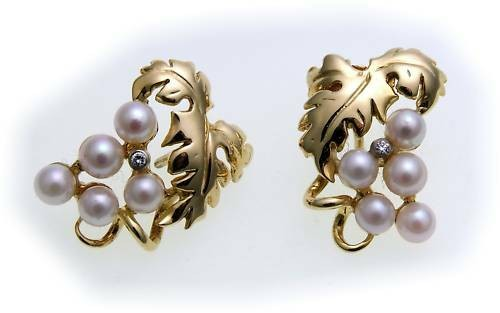 Damen Ohrringe Blätter Gold 585 Diamant 0,02ct Perlen Gelbgold Ohrstecker