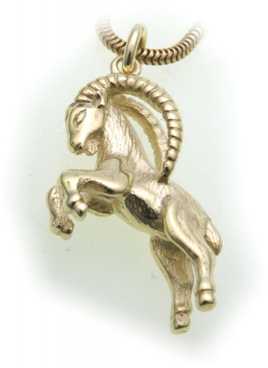 Anhänger Sternzeichen Steinbock echt Gold 585 massiv 14kt Tierkreiszeichen
