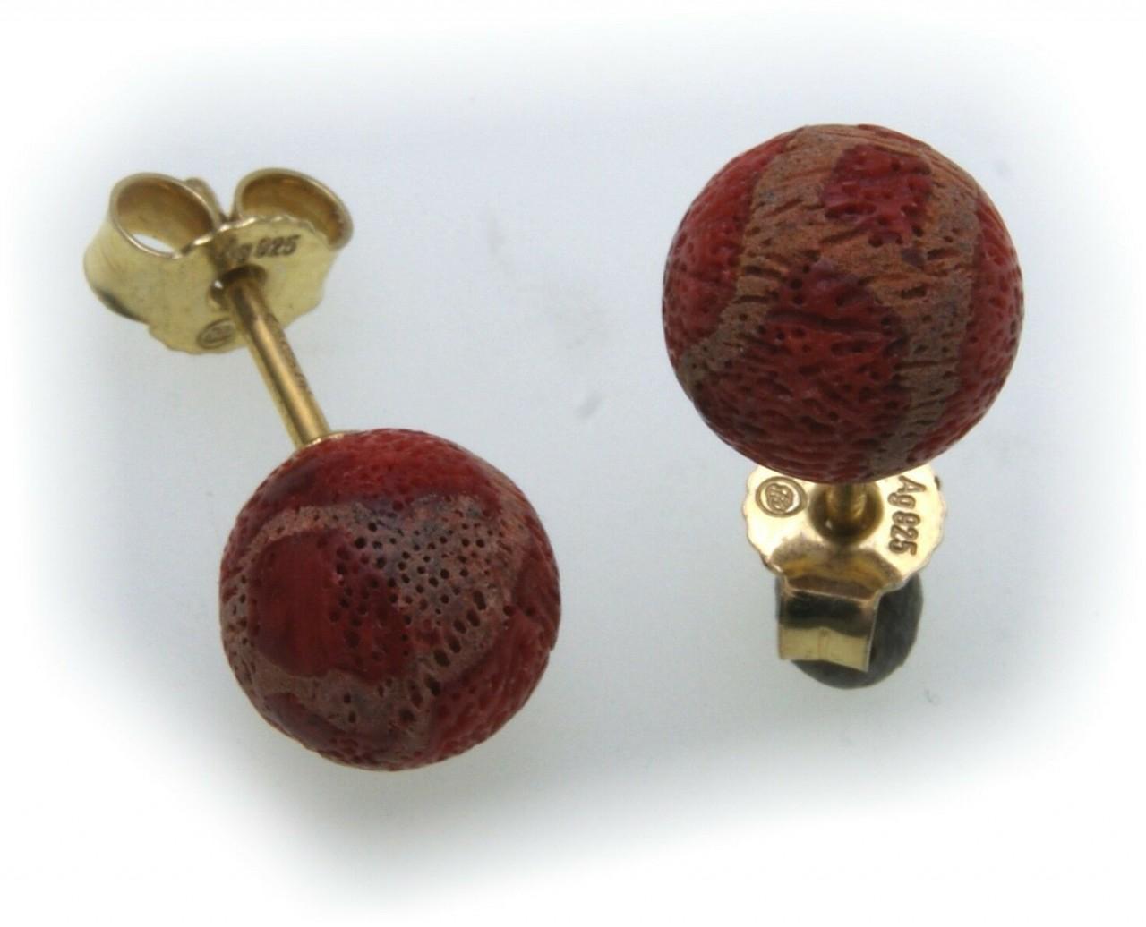 Damen Ohrringe Schaumkoralle rot Silber 925 Ohrstecker Sterlingsilber Koralle
