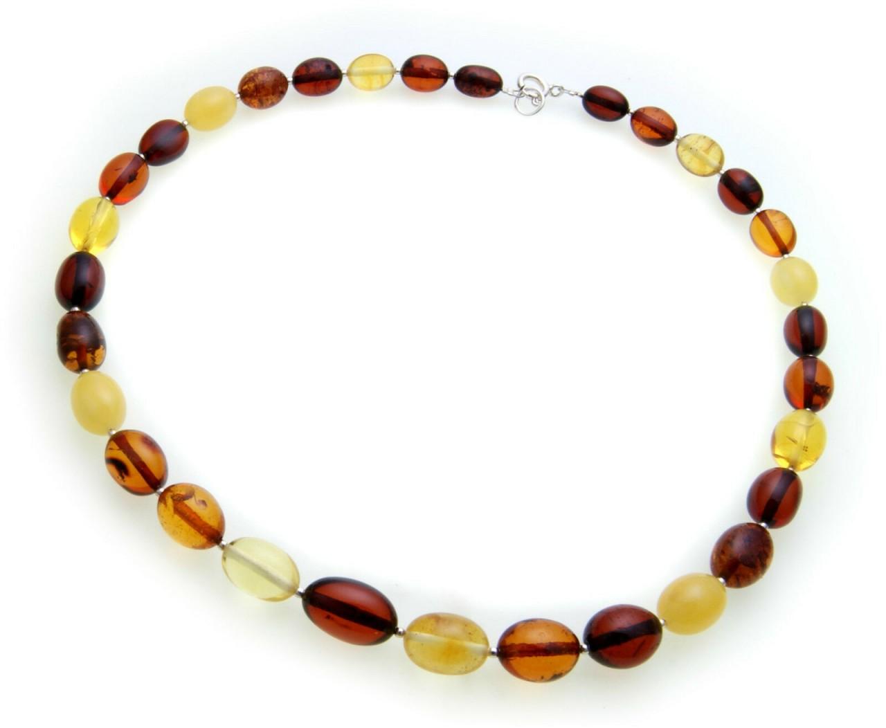 Damen Collier echter Bernstein aus der Ostsee Oliven Halskette Qualität Kette
