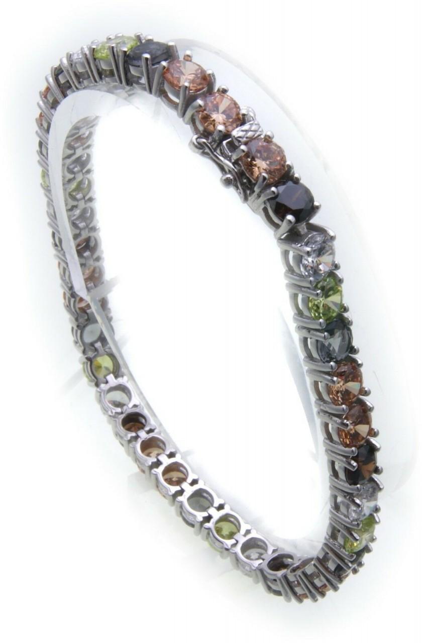 Tennis Armband echt Silber 925 Zirkonia Regenbogen 5,2 mm breit farbig Farbstein