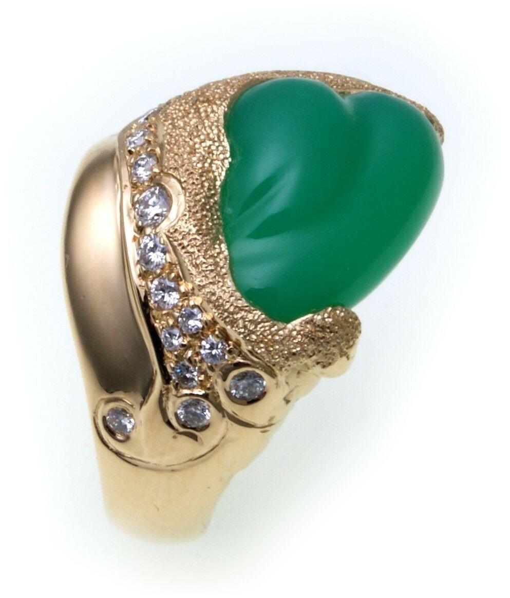 Damen Ring Einzelstück Diamant 0,80ct Chrysopras Gold 750 Sonderpreis Gelbgold