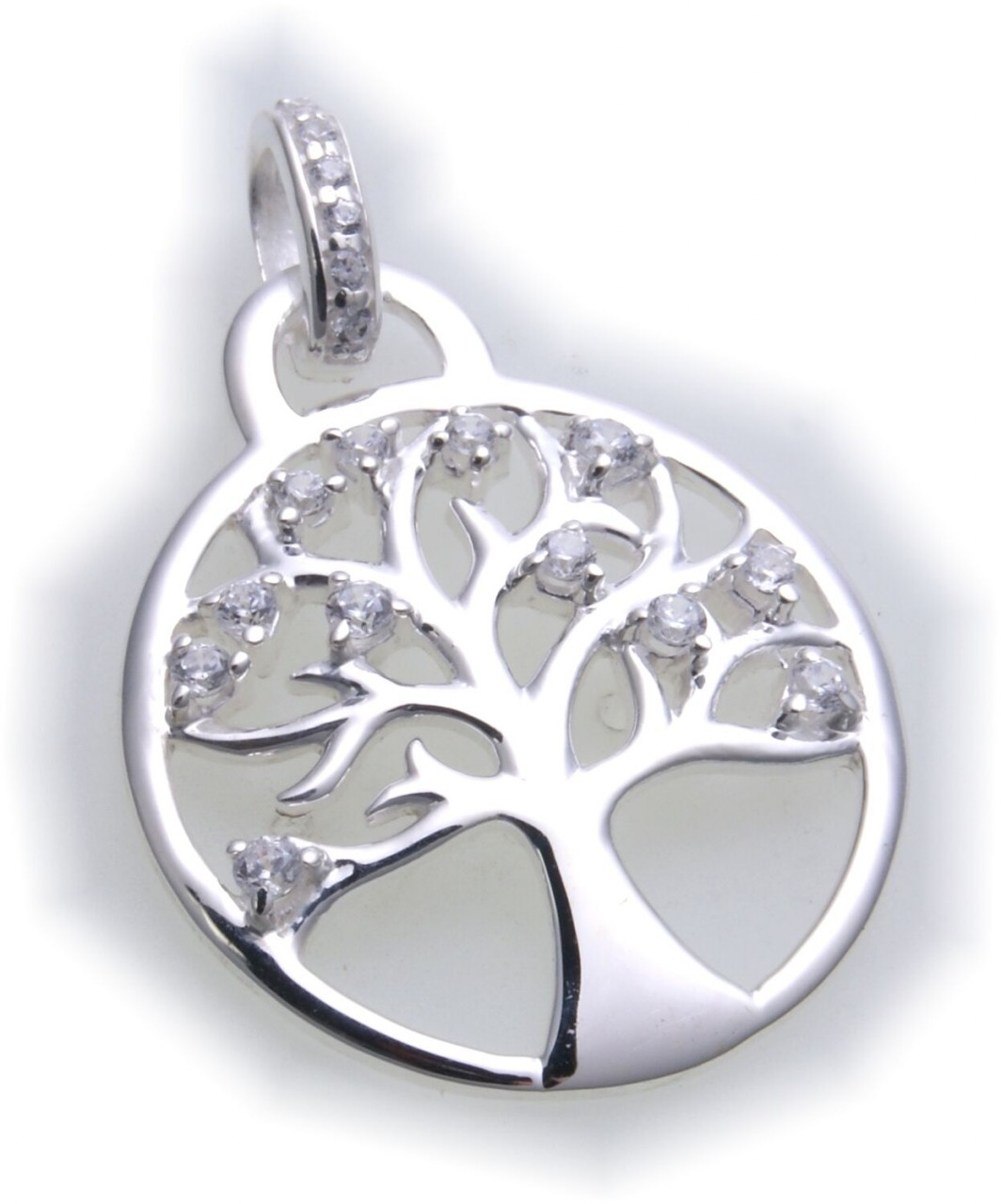 Anhänger Baum des Lebens in Silber 925 Sterlingsilber mit Zirkonia
