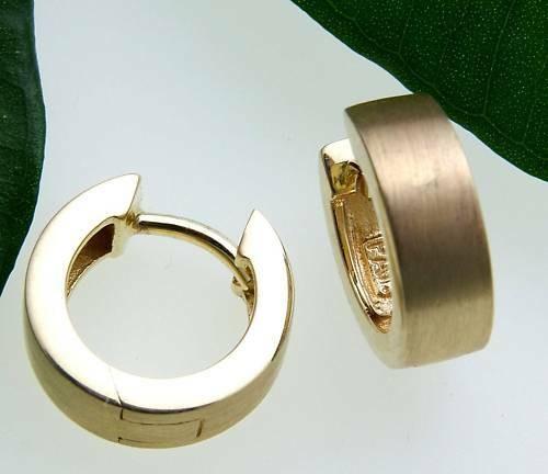 Damen Ohrringe Klapp Creolen echt Gold 750 18 karat matt. eckig 12 mm Gelbgold