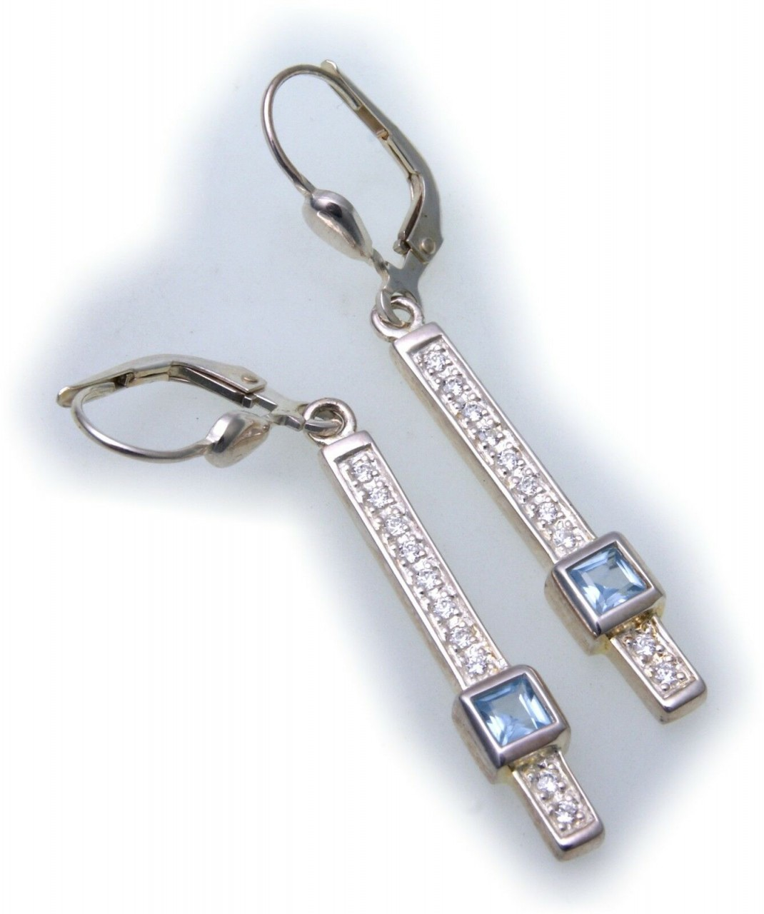 Ohrringe Hänger Rechteck Silber 925 Sterlingsilber Aquamarin Zirkonia Ohrhänger