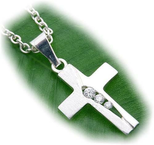 Anhänger Kreuz Zirkonia echt Silber 925 23 mm teilmatt Sterlingsilber U