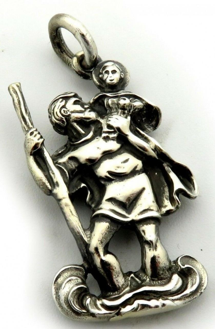 Anhänger Christophorus groß XXL Silber 925 Sterlingsilber Jesus Christopherus
