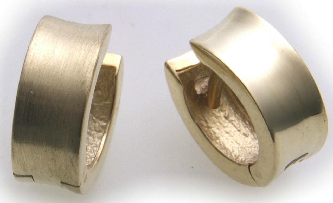 Damen Ohrringe Klapp Creolen echt Gold 585 teilmatt. eckig 15 mm Gelbgold