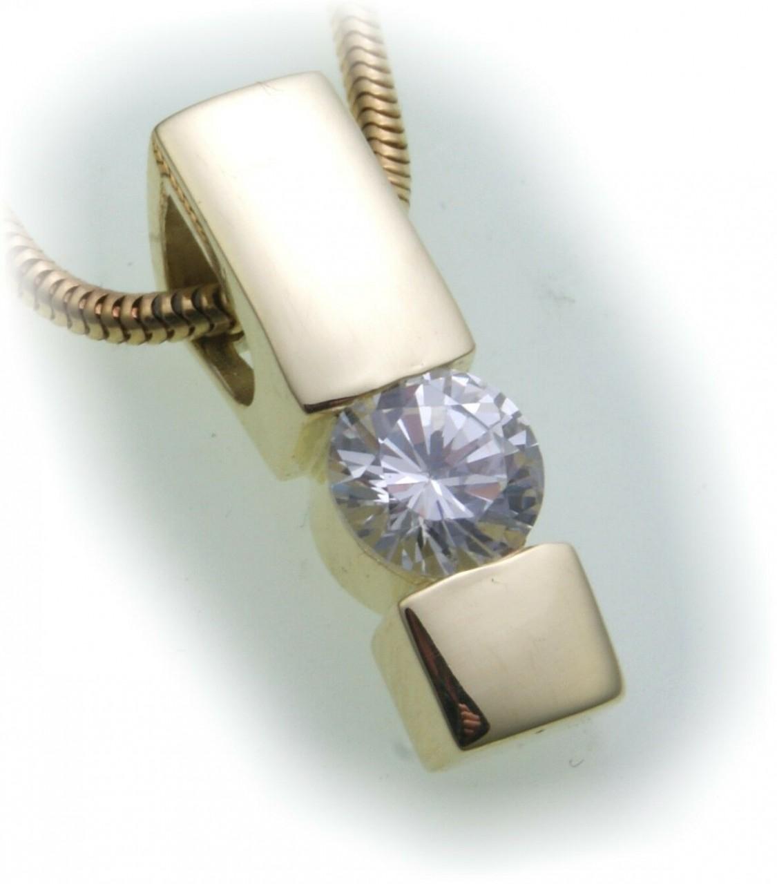 Anhänger Brillant 1,00 carat w/si echt Gold 750 18kt 1,0 ct Solitär Gelbgold