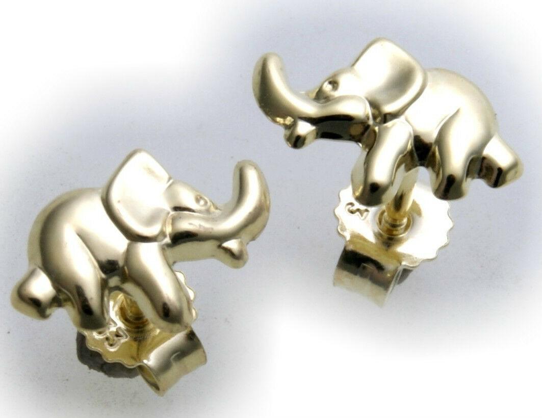 Ohrringe Stecker Elefant echt Gold 585 Kinderohrringe Gelbgold Kinder Ohrstecker