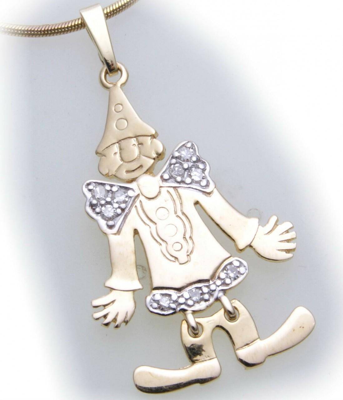 Anhänger Clown beweglich echt Gold 585 Diamant 0,09ct Gelbgold Unisex Brillant