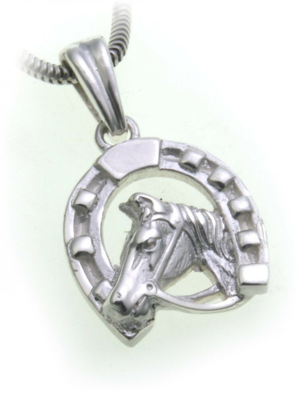 Anhänger Pferd mit Hufeisen echt Silber 925 Unisex reiten Sterlingsilber Pferde