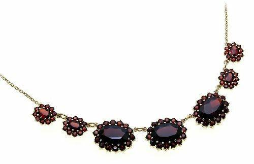 Collier m. Granat echt Gold 585 Halsschmuck Gelbgold Halskette Damen 4915/5GR