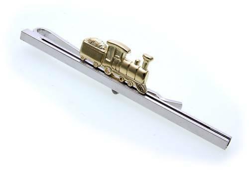 Krawattenhalter Dampflok Eisenbahn echt Silber 925 Zug Sterlingsilber lok