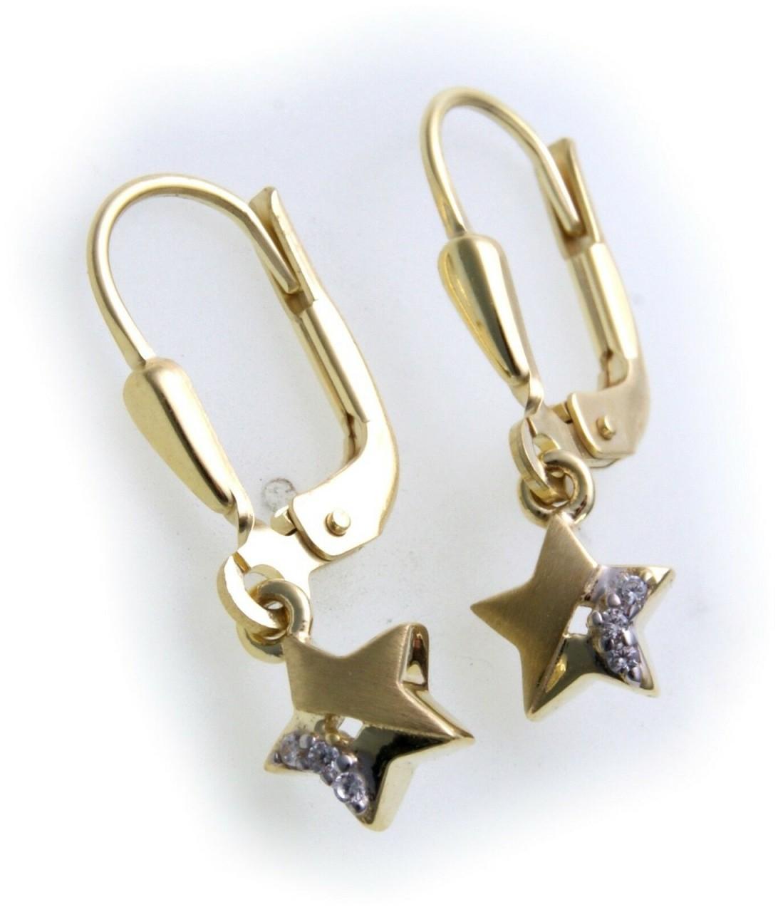 Ohrringe Hänger Stern Zirkonia echt Gold 333 Gelbgold Unisex Damen Ohrhänger