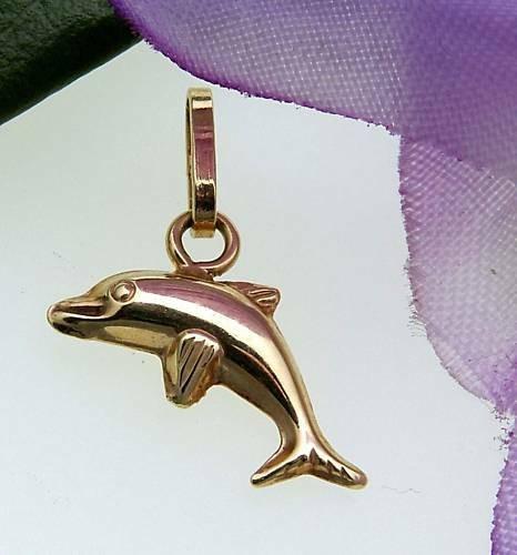 Kinder Anhänger Delfin hochglanzpoliert 585 Gold Gelbgold Qualität