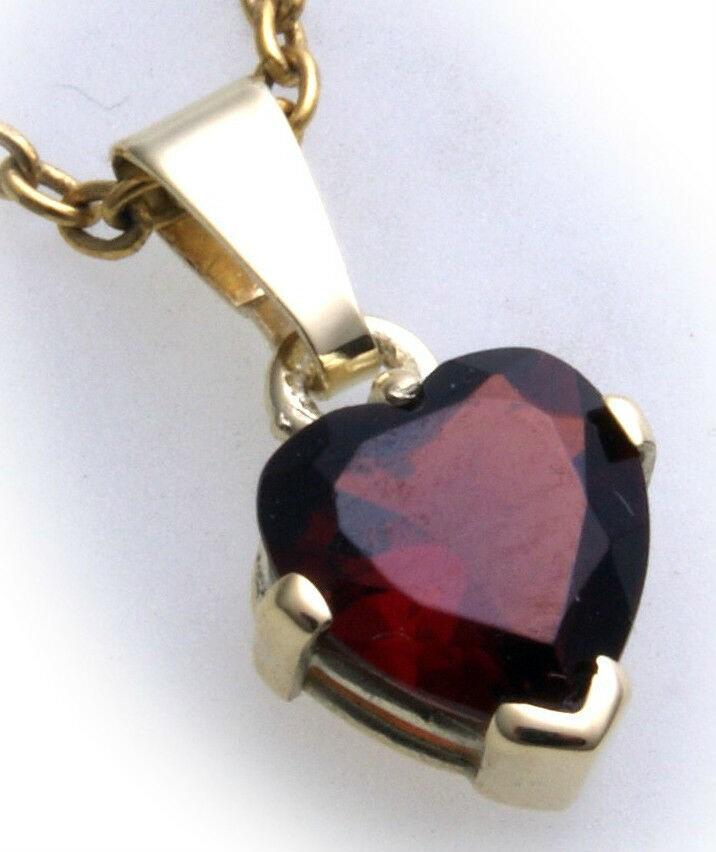 Anhänger m. Granat in Gold 585 Granatanhänger Herz Gelbgold Qualität Damen