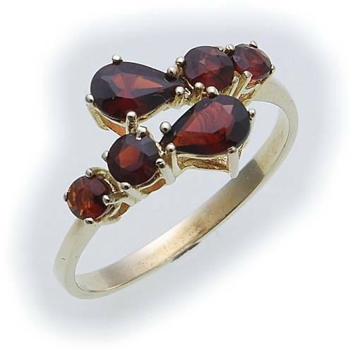 Damen Ring m. Granat in Gold 585 Granatring Gelbgold Qualität 8286/5GR