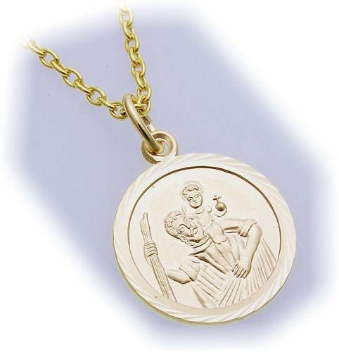 Neu Anhänger Christopherus teilmatt. 333 Gold Christophorus 8 karat Gelbgold Top