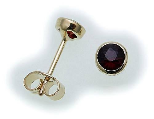 Damen Ohrringe m. Granat in Gold 333 Gelbgold Ohrstecker 6527/3GR