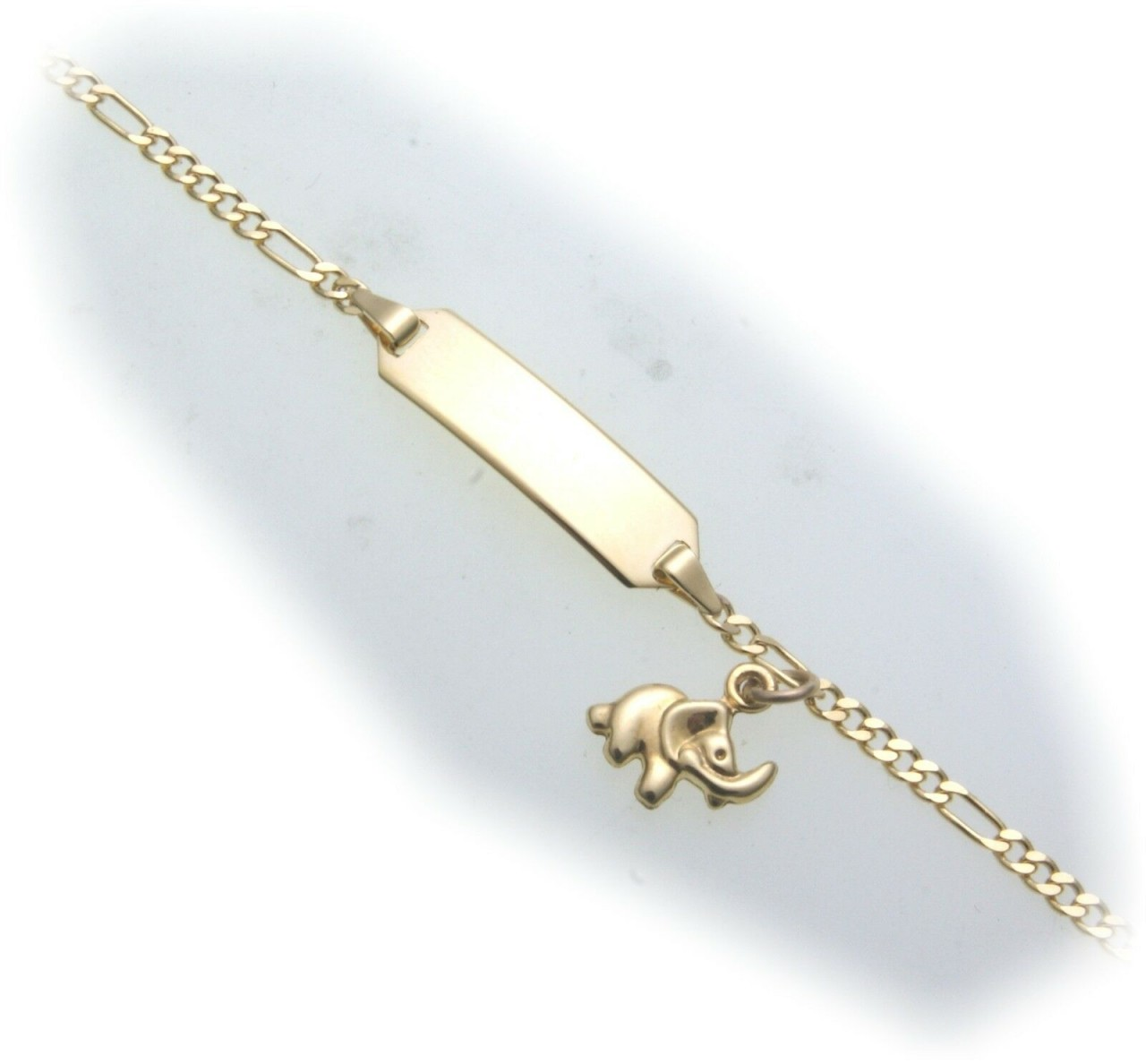 Armband Kinder Elefant 14cm Gold 585 Gelbgold Schildarmband incl. Gravur ID Band