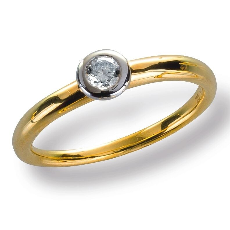 Damenring Ring Gelbggold 585 Brillant 0.15 ct. Gold Diamant Viola Luxury
