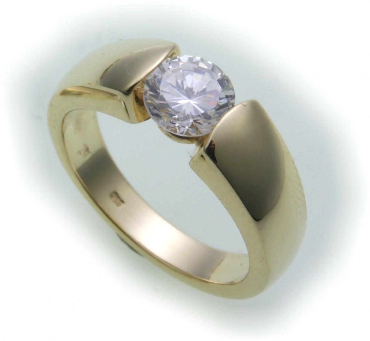 Damen Ring Brillant 1,00 c SI Diamant echt Gold 750 18kt 1,0ct Solitär Gelbgold