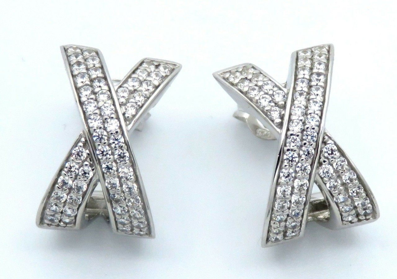 Damen Ohrringe Stecker Kreuz Knoten echt Silber 925 Zirkonia Ohrstecker Sterling