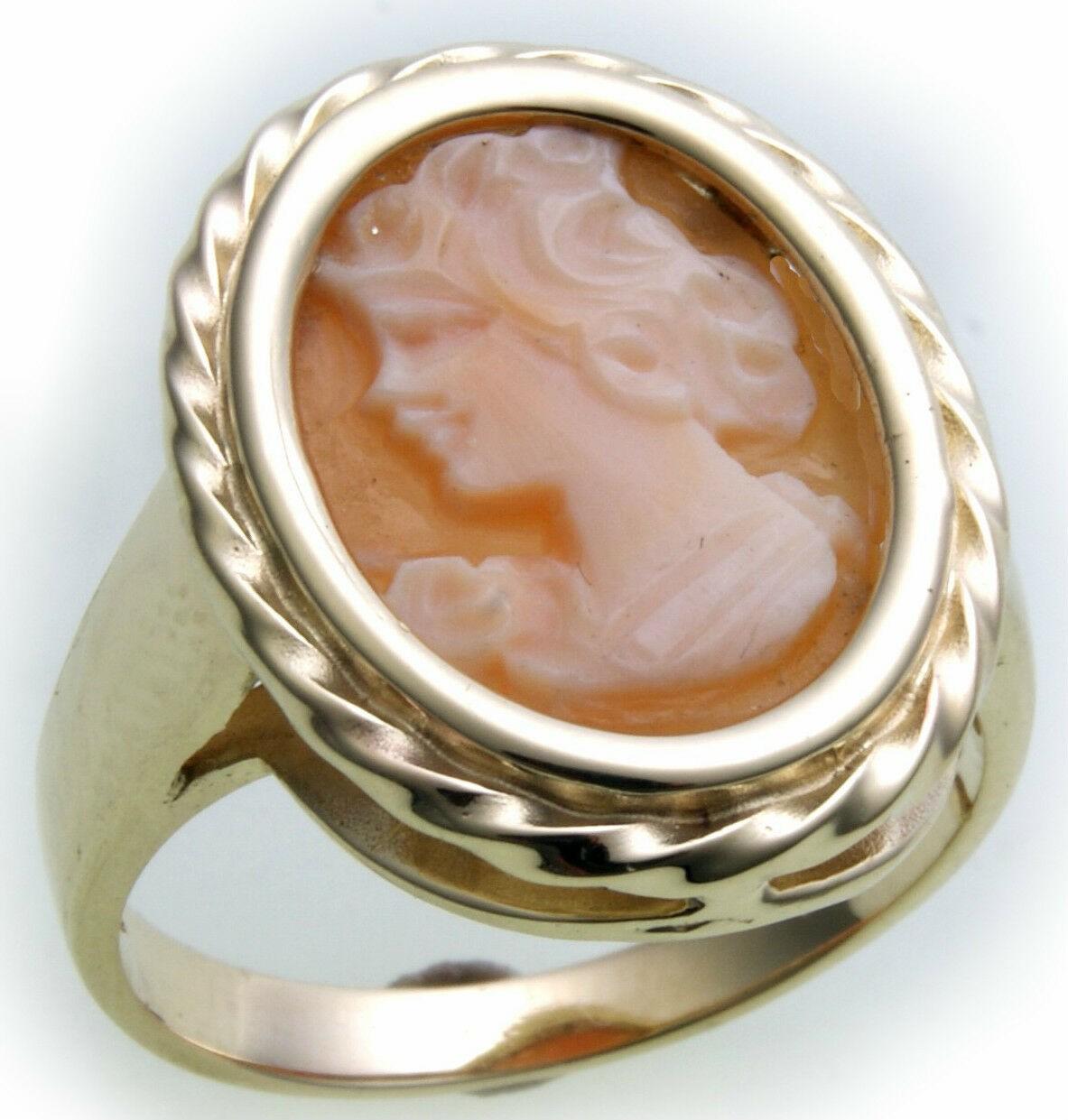 Damen Ring m. Muschelgemme in Gold 585 Gemmenring Gelbgold Muschelkamee Qualität