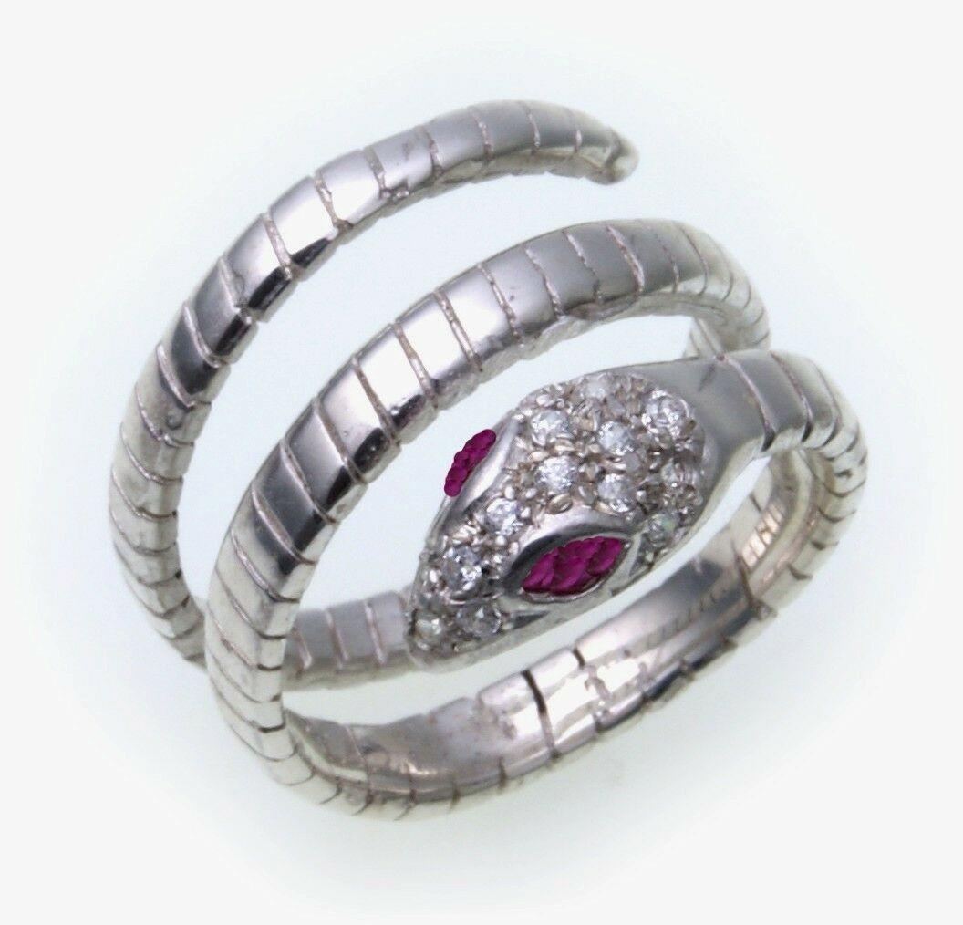 Schlangenring Weißgold 585 Diamant 0,15ct Ring Schlange 585er-Gold Unisex