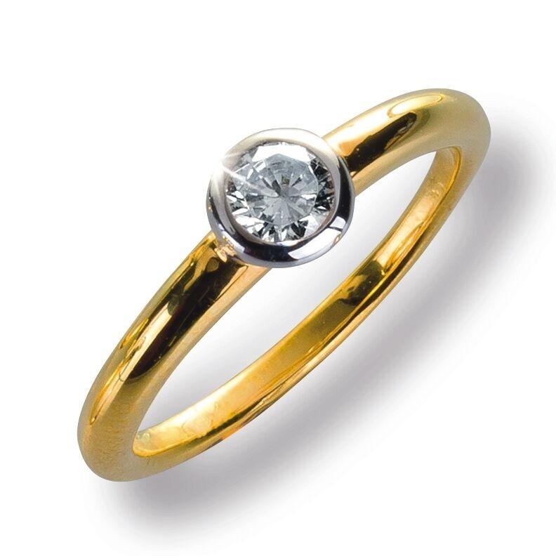 Damenring Ring Gelbggold 585 Brillant 0.26 ct. Gold Diamant Viola Luxury