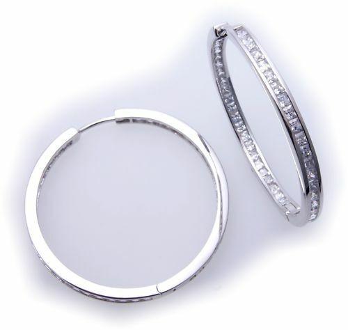 Ohrringe Creolen Zirkonia rundum echt Silber 925 Sterlingsilber Damen