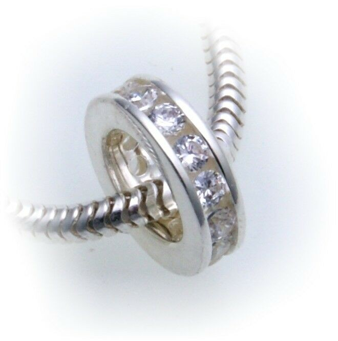 Anhänger echt Silber 925 Zirkonia zum durchziehen 8 mm Sterlingsilber Taufring