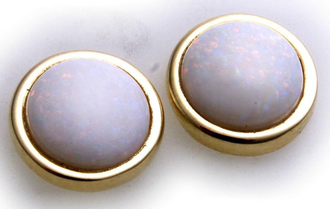 Damen Ohrringe echt Opal groß 10mm echt Gold 333 Gelbgold Ohrstecker Qualität