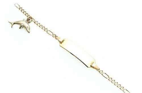 Armband Kinder 14cm 333 Gold Figarokette incl. Gravur Qualität Gelbgold BI4204
