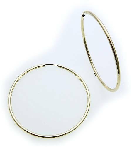 Ohrringe Creolen groß Gold 333 Glanz 50 mm Rohrform Gelbgold 8kt Unisex Qualität