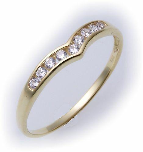 Damen Ring echt Gold 333 Zirkonia 8kt Gelbgold günstige Qualität Neu Z1691 ZI