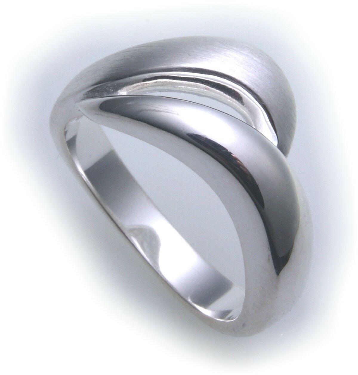 exkl. Damen Ring echt Silber 925 teilmatt Qualität Sterlingsilber