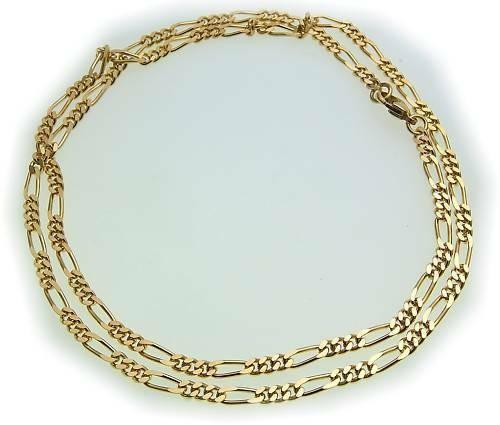 Halskette Kette Figarokette echt Gold 333 3,5 mm 45 cm Gelbgold Unisex