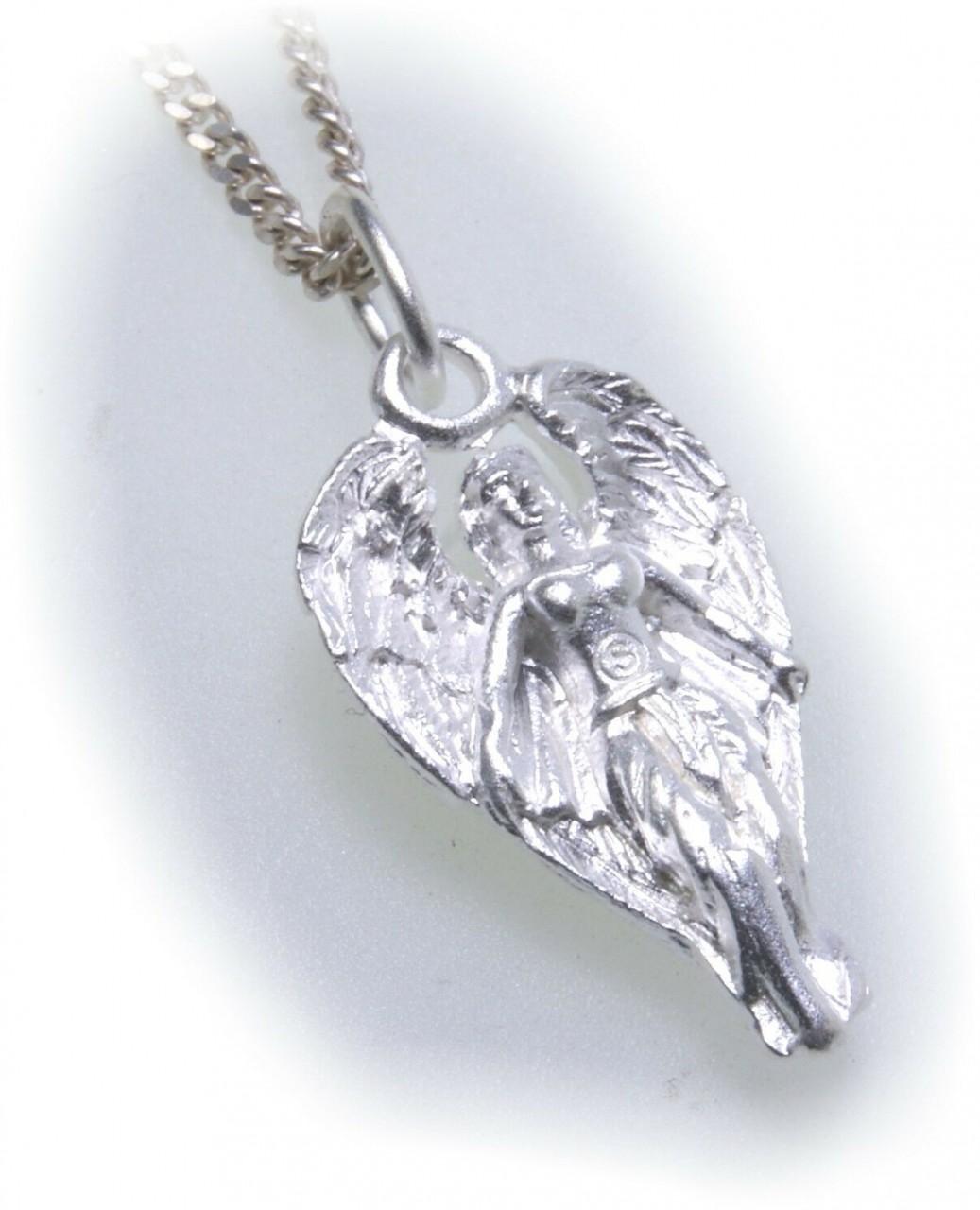 Anhänger Engel echt Silber 925 Engel mit Flügel mattiert Unisex Sterlingsilber