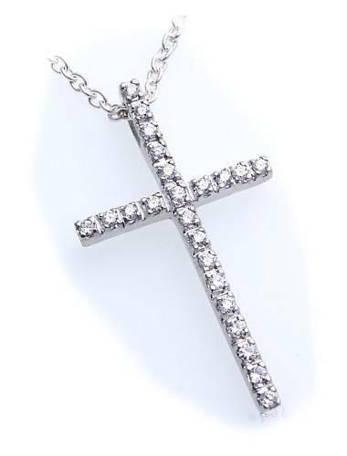 Anhänger Kreuz Brillant 0,27 ct Gold 585 poliert 31 mm Diamant Gelbgold 8k Damen