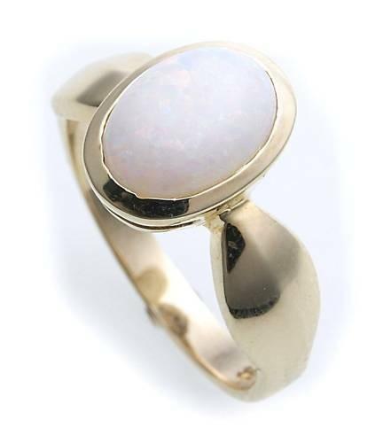 Damen Ring echt Opal 10 x 7 echt Gold 333 Zarge Gelbgold