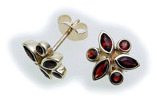 Damen Ohrringe Granat in Gold 585 Granatohrringe Gelbgold Ohrstecker Blume 14kt