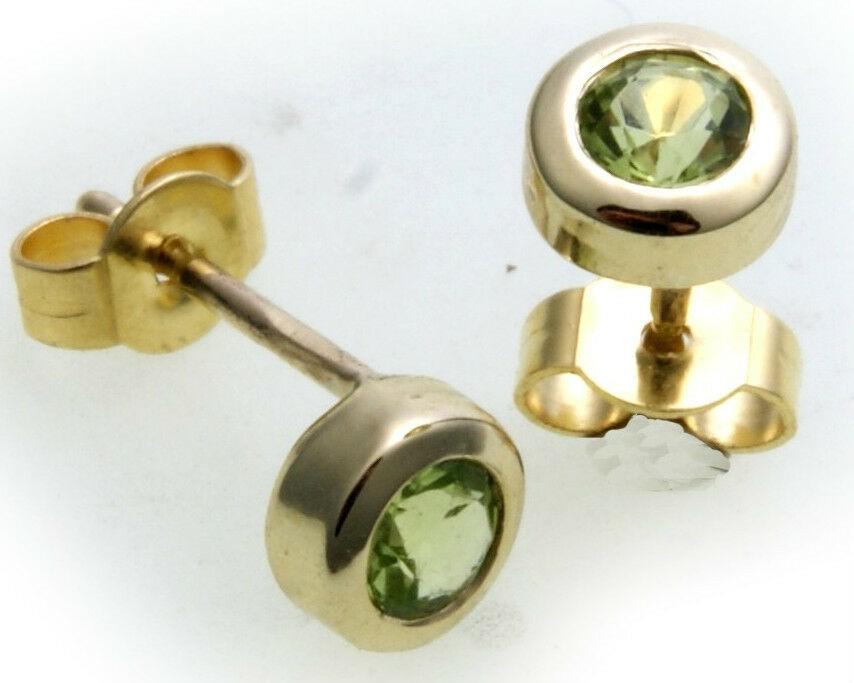 Ohrringe Stecker Peridot echt Gold 750 Damen Ohrstecker 18 karat Gelbgold grün