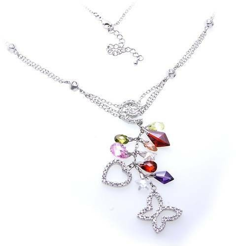 Damen Collier in Silber 925 mit Zirkonia Sterlingsilber Halskette
