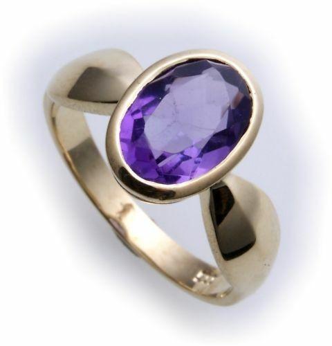 Damen Ring echt Amethyst 10 x 7 echt Gold 585 Zarge Gelbgold