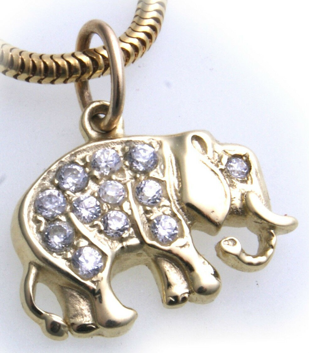 Anhänger echt Gold 333 Elefant Diamant 0,20ct Brillant Gelbgold Unisex er- NEU