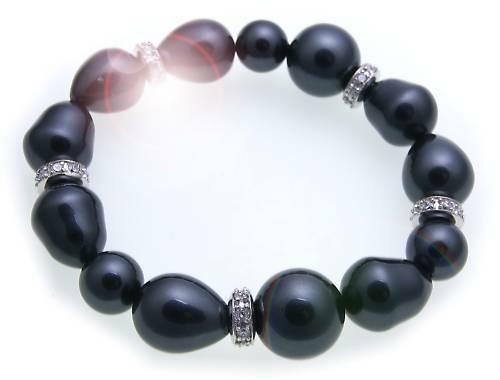 Armband Muschelkernperle 14 mm Silber Zirkonia Sterlingsilber Damen Perlen